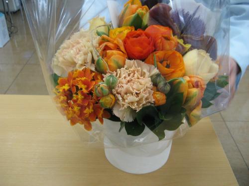 従業員の皆さんからお祝いのお花を頂きました