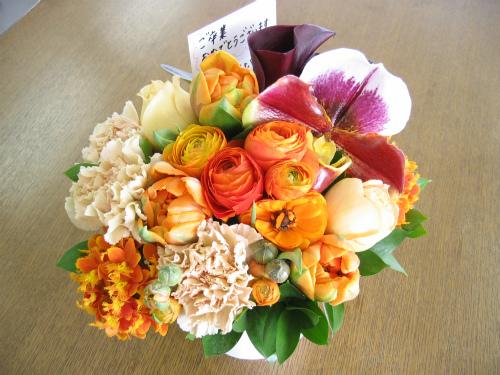 頂いたお花には、メッセージカードが挟まれていました