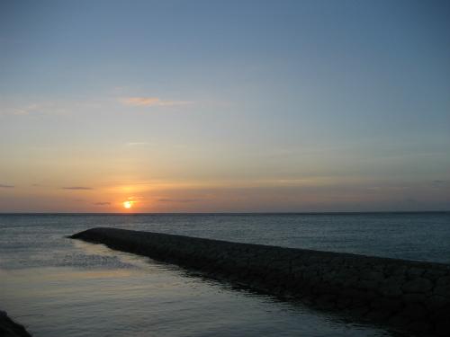 恩納村で見る日没
