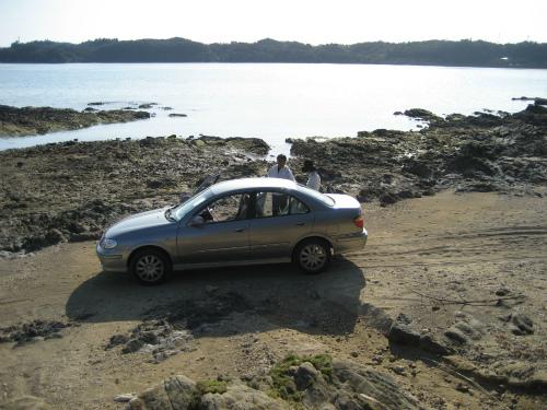 金武湾の宜野座村の海辺が、赤土で汚染されていました