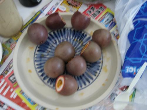 米須勇さんが、パッションフルーツとパパイヤを持ってきてくれました