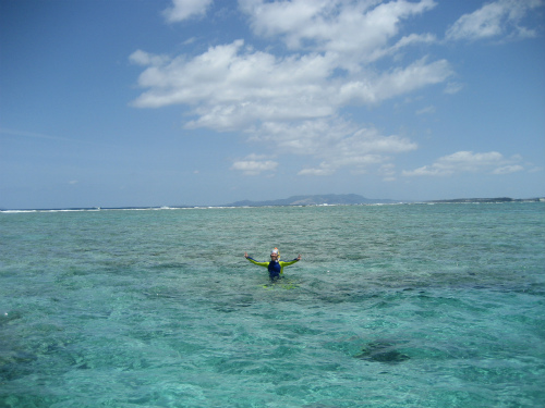 普段だと4、5メートルはある深さが、足が立つほどの潮の引き方です