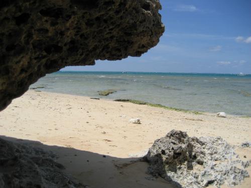 読谷の方の残波岬に行って、お弁当を海を見ながら食べました