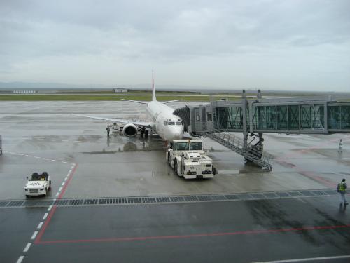 今日の飛行機は、少し小型の飛行機でした