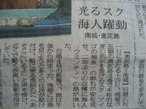 「光るスク海人躍動」の記事が載っている新聞