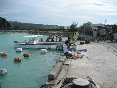 夕方になってくると、ダイビングの客も、海から帰って行きます