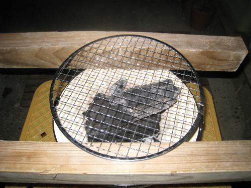 片山正喜さんのお家で、炭火焼き肉