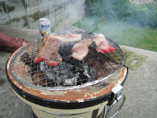 三田牛の炭火焼き