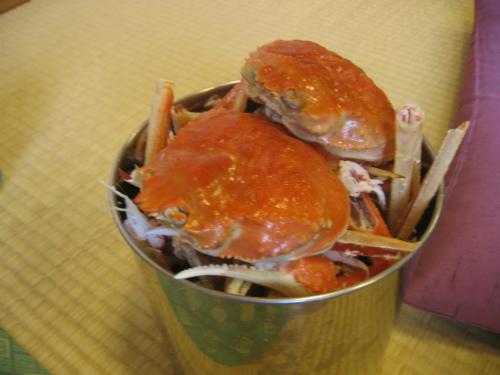 蟹の殻がいっぱい