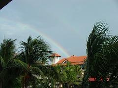 スコールの後に、2本の虹が出ました