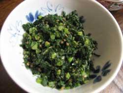 丹波篠山の大根葉の炒め物、
