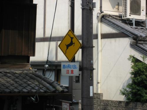 「鹿の飛び出し注意」の標識
